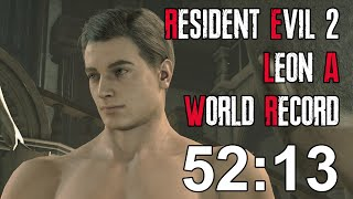 Resident Evil 2 Remake - Leon A Speedrun World Record - 52:13