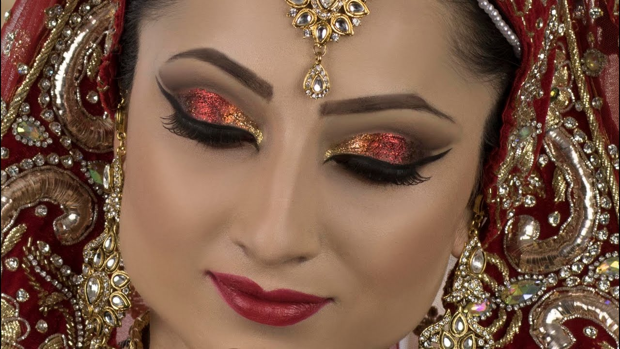bold traditional asian bridal red glitter makeup youtube