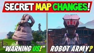 """*NEW* FORTNITE SECRET MAP CHANGES """"WARNING!"""" + """"ROBOT CHEST"""" Season 9 Storyline Ending"""