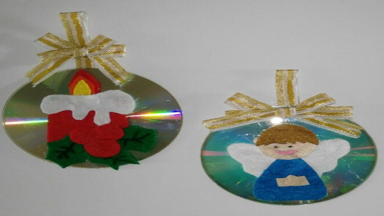 Como hacer adornos navide os con cd para el arbol de for Adornos colgar pared