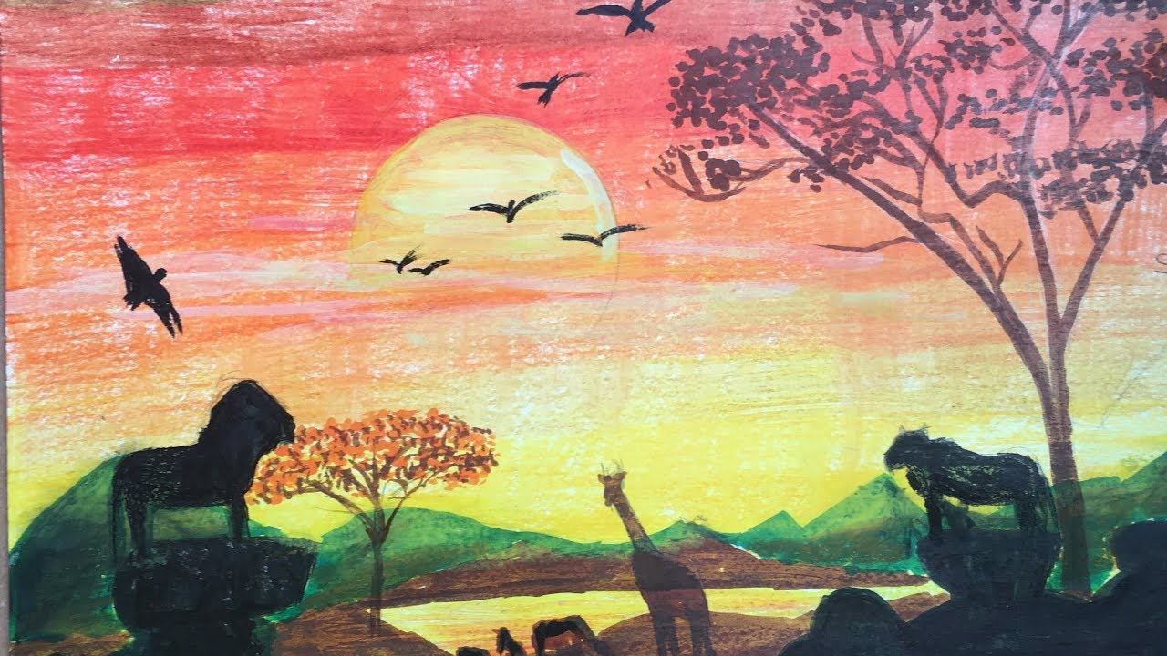 African Sunset Drawing Drawing Of Nature With Colour Pencils P V Hanumanthu Art