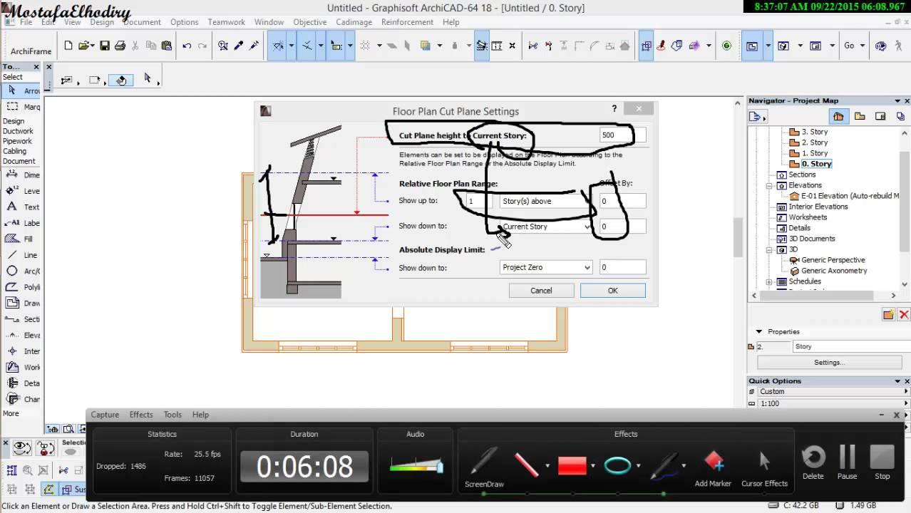Trace floor plan cut plan archicad