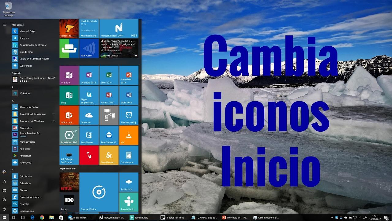 0cdf7899087 Configurar iconos menú inicio windows 10 en español - YouTube