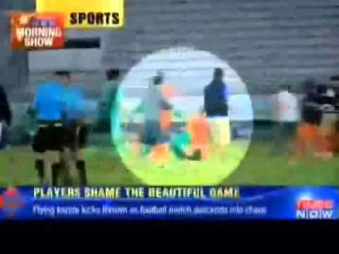 Players Throw Flying kicks and Punches in Kuwait Club Football Match Chaos