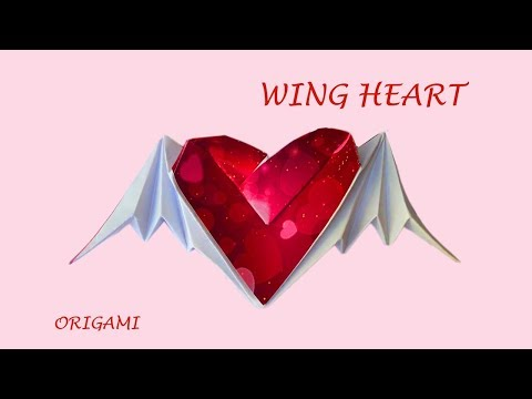 Angel wing heart - very beautiful easy origami for Fun DIY Thanks Giving