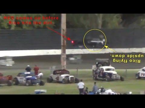 Midgets Main 8-31-14 Calistoga Speedway - Rico CRASHES !