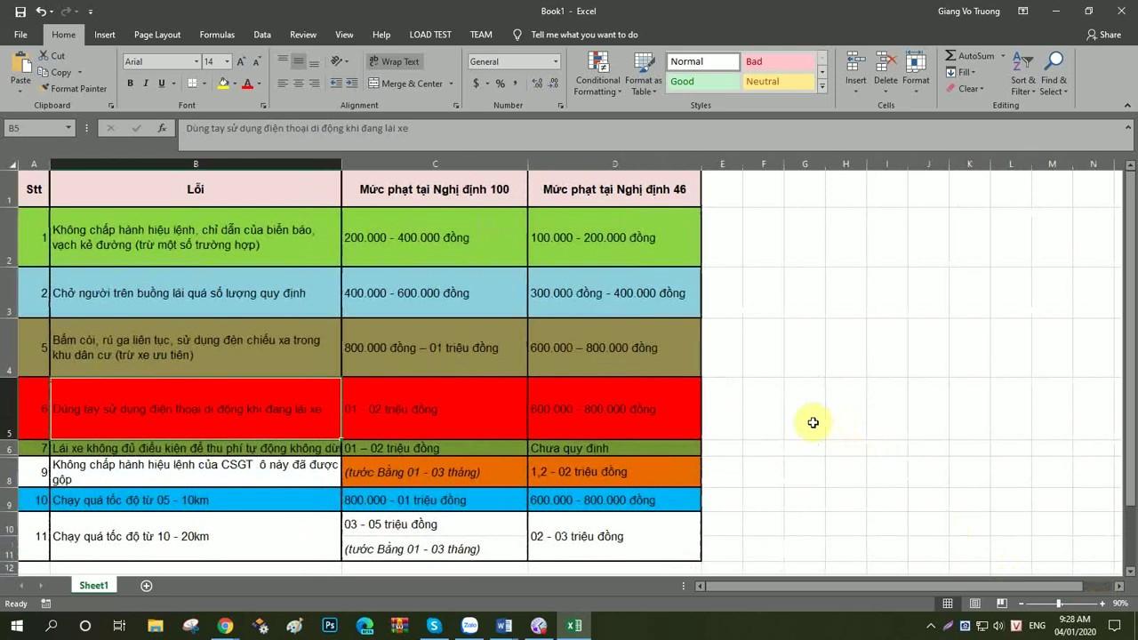 Copy bảng từ word sang excel giữ nguyên định dạng [tinhoc119.com]