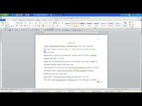 MLA Works Cited Page Hanging Indent - YouTube