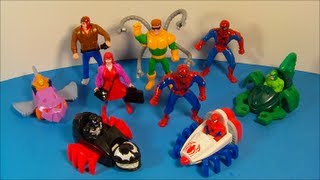 Repeat youtube video 1995 MARVEL SPIDER-MAN SET OF 9 McDONALD'S HAPPY MEAL KID'S TOY'S VIDEO REVIEW