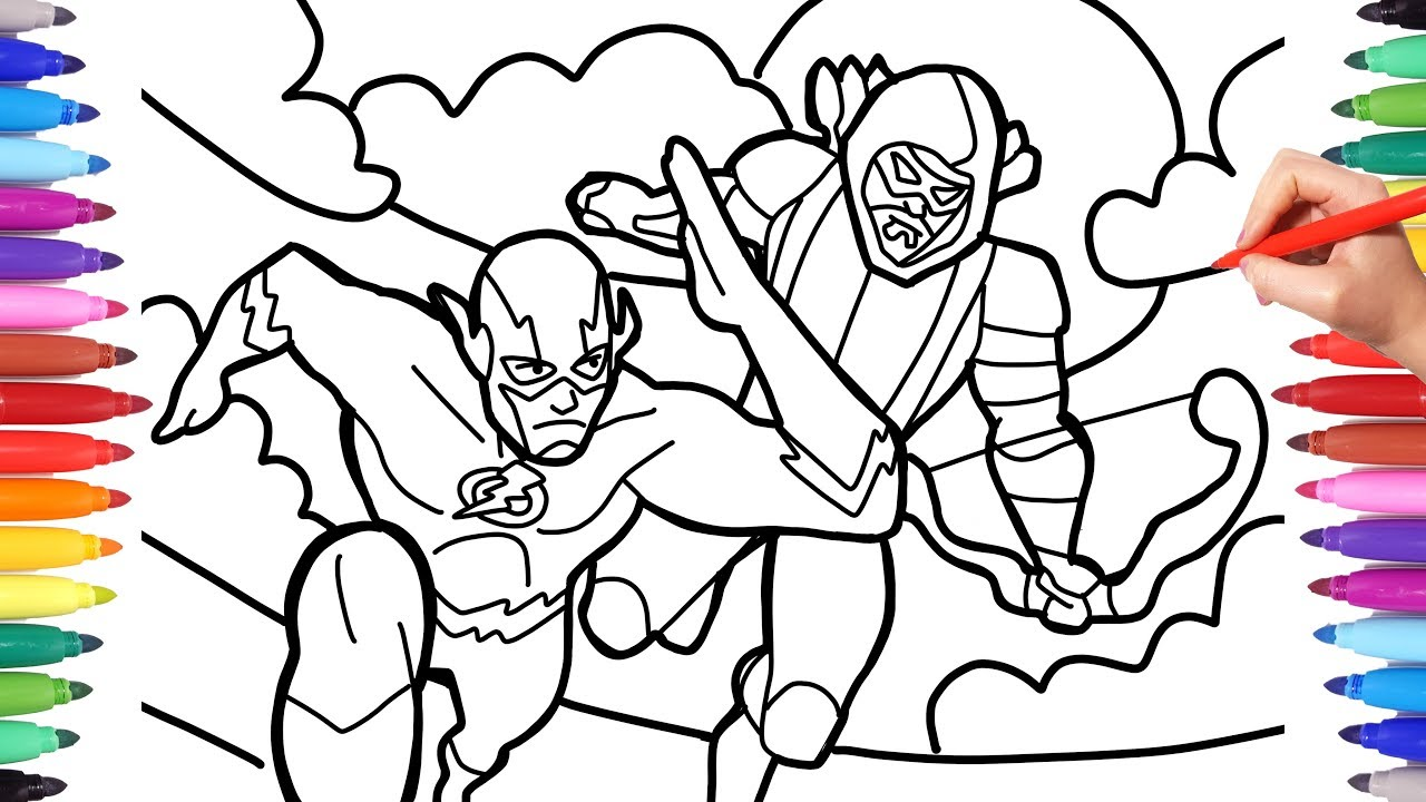 Flash And Green Arrow Flash Arrow Coloring Pages How To Draw Flash And Arrow