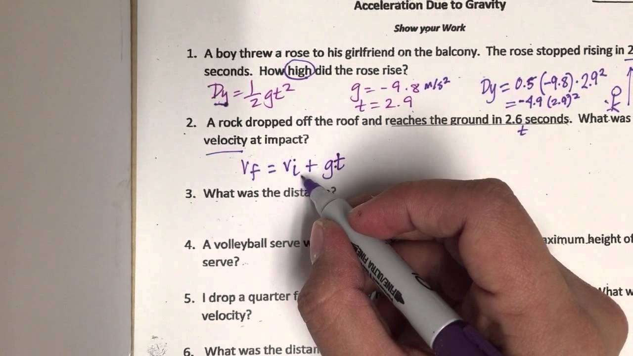 Acceleration Due to Gravity Worksheet - YouTube