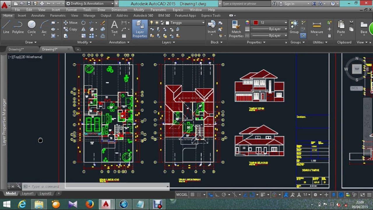 67 Desain Rumah Minimalis 2 Lantai Autocad  Desain Rumah