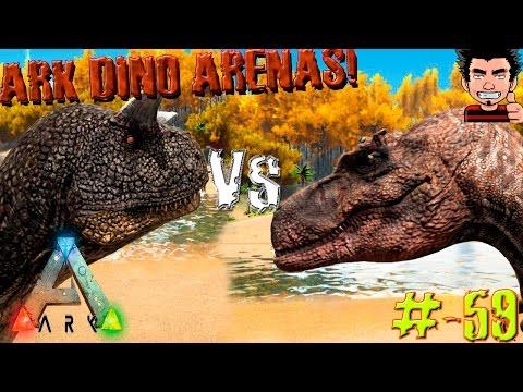 ARK Survival Evolved Albertosaurus VS Carno Batalla dinosaurios arena gameplay español