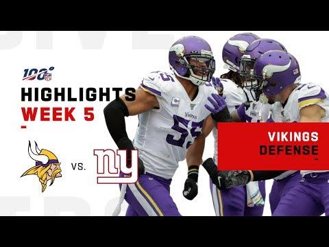 Vikings Defensive Highlights Vs Giants Nfl 2019 Youtube