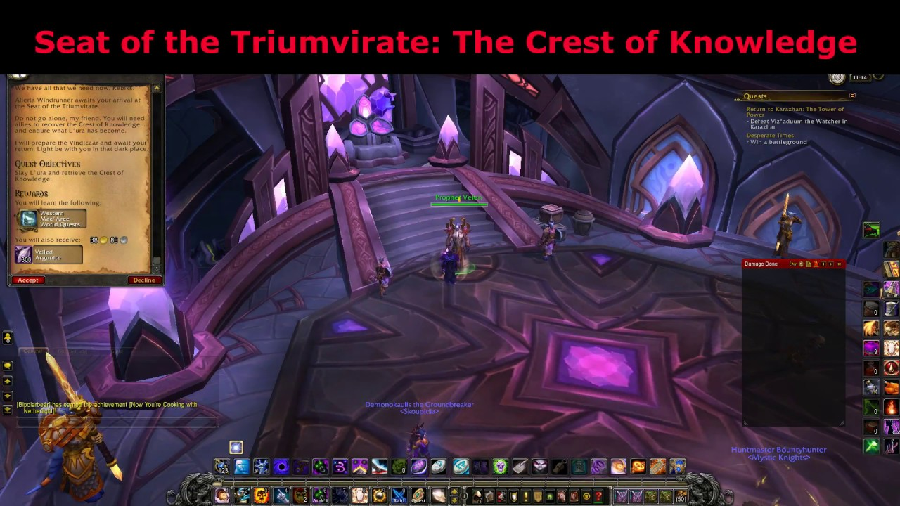 seat of the triumvirate the crest of knowledge argus quest world of warcraft