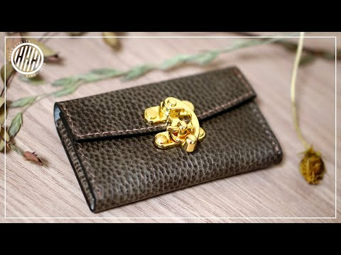 [Leather Craft] Swing-lock Card-wallet making / leather working / DIY