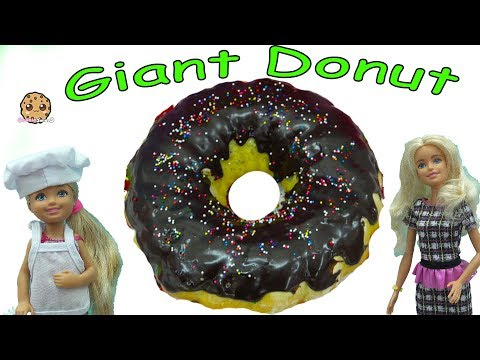 Barbie Kid Cooks Giant Chocolate Krispy Kreme Donut with Rainbow Sprinkles - Toy Video