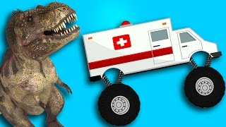 Dinosaurs And Monster Truck Fight Compilation Cartoon Short Movie Video For Children And Kids