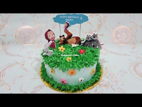how-to-decorate-birthday-cake-masha-and-the-bear---cara-menghias-kue-ulang-tahun-masha-cake