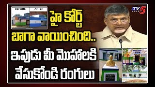 Chandrababu About High Court Serious On YSRCP Colours to Govt Buildings   AP Politics