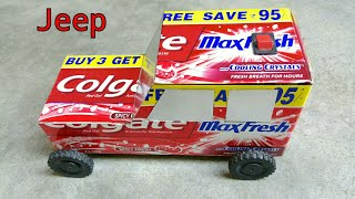 How To Make a RC Jeep | With Colgate box | battery operated | DIY