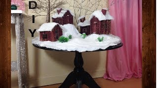 DIY winter village. Christmas decor craft ideas.
