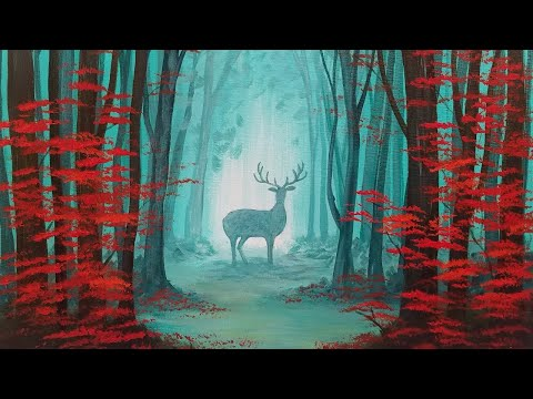 Easy Beginner Tutorial Autumn Forest Landscape with Deer Silhouette Acrylic Painting LIVE