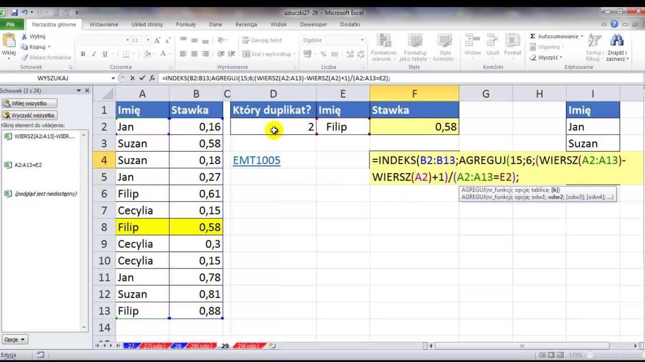 Excel Znajdź K Ty Duplikat Przy Nieposortowanej Liście Sztuczki