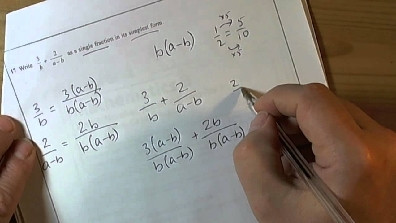 Worksheets Writing Fractions In Simplest Form Worksheet q17 march 2012 higher gcse mathematics unit 2 algebraic fraction youtube