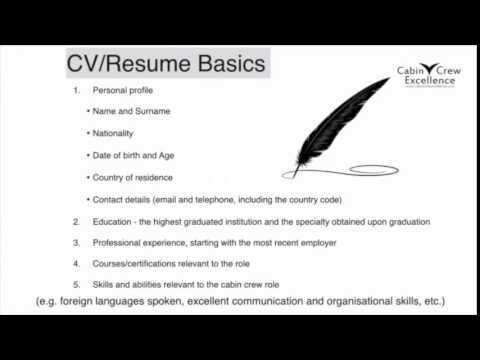 Cabin Crew Job Interview Tips CV Resume Basics & Your