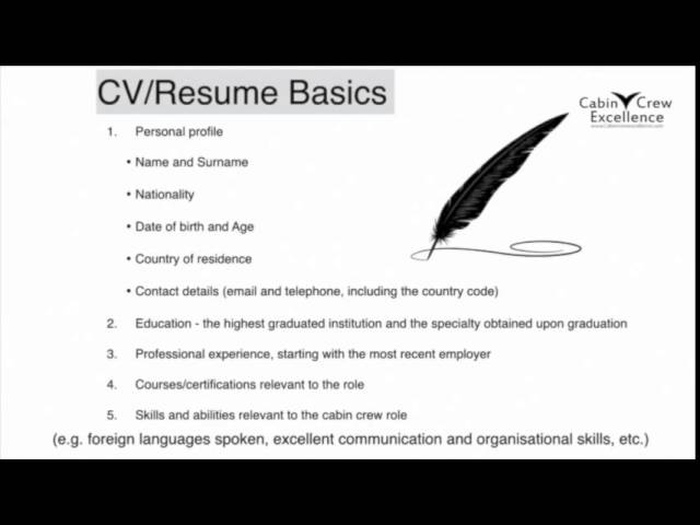 Your CV/Resume & Photo Basics – Cabin Crew Job Interview Tips ...