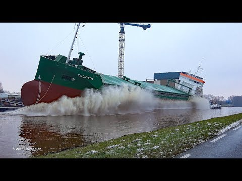 ICE CRYSTAL | amazing big ship launch at shipyard Ferus Smit Westerbroek | 4K-Quality-Video