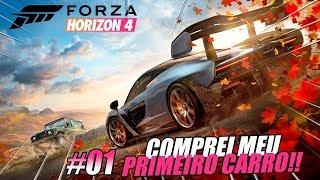 FORZA HORIZON 4 DE GRAÇA! - COMPRAMOS O PRIMEIRO CARRO! - O INICIO EP01 - GAMEPLAY DA DEMO FULL HD