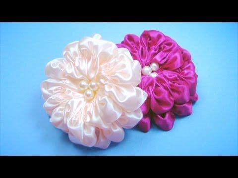 ПЫШНЫЙ-ЦВЕТОК-из-атласной-ленты.-Мастер-класс-/-satin-ribbon-flower-tutorial-/-✿-natalidoma