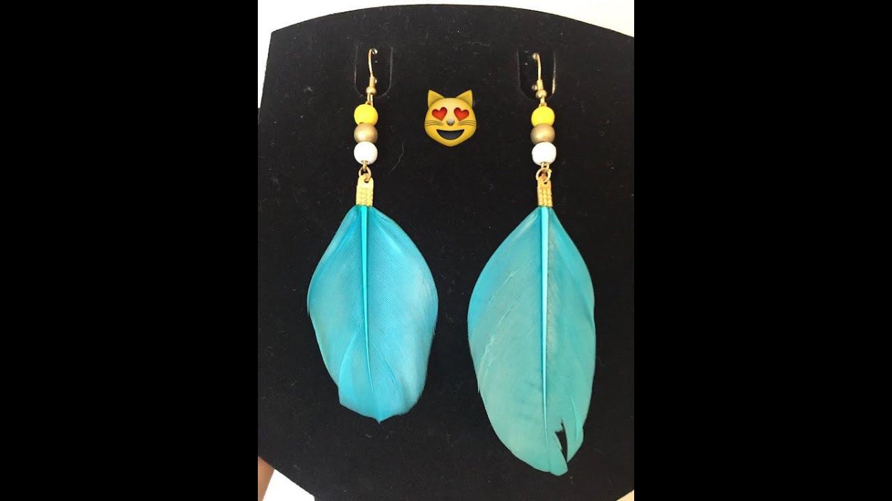Boucle d'oreille plume turquoise