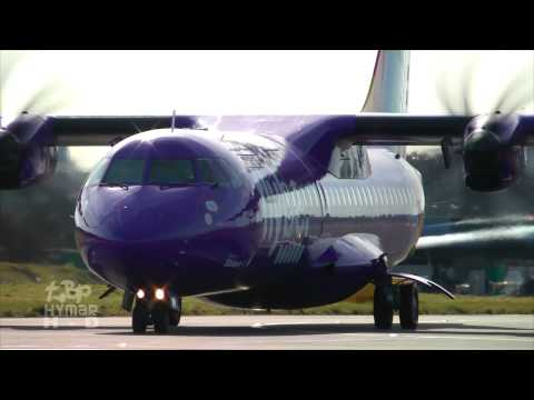 flybe purple ATR72 at Southend Airport Up close waving pilots EI-REM Stobart Air ATR
