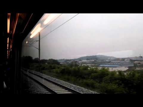 Riding the KTX high speed train from Pohang to Seoul, South Korea