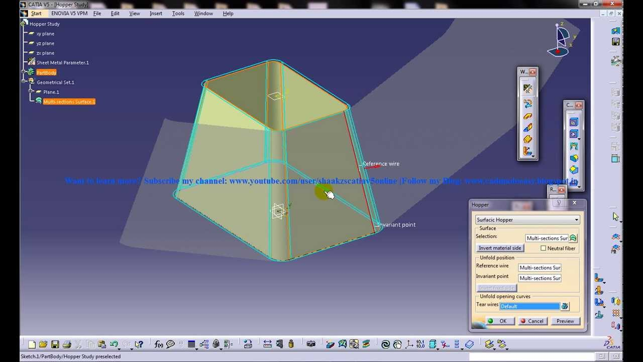 Catia V5 Tutorial Surfacic Hopper Sheetmetal Workbench