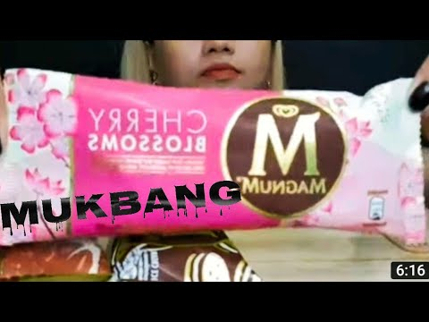 #MUKBANG MAGNUM ICE CREAM  cherry blossoms,cookies and cream,classic and almond flavor