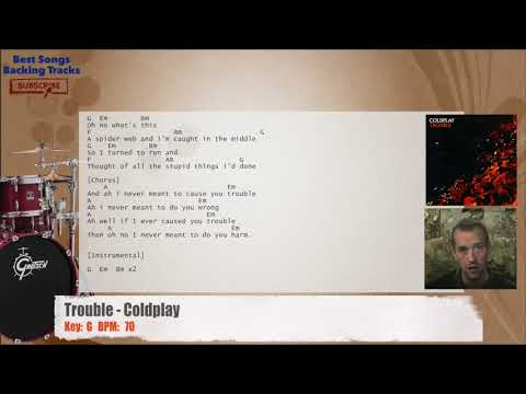 Trouble Coldplay Drums Backing Track With Chords And Lyrics Youtube