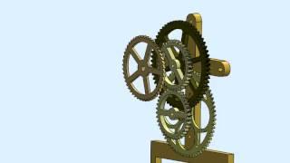 Wooden Gear Clock Animation01