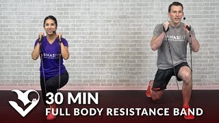 30 Minute Full Body Resistance Band Workout for Women & Men - Elastic Exercise Band Workouts