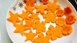 Cách tỉa cà rốt thành Ngôi sao và Hoa | Phượng Phạm | How to trim Carrots into Stars and Flowers