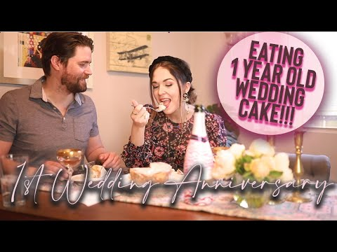 eating-our-wedding-cake-1-year-later!-|-couples-tag,-engagement-story-+-more!