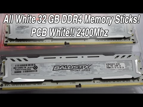 All White Crucial Ballistix 32GB DDR4 2400Mhz Ram Performance Test & Benchmark