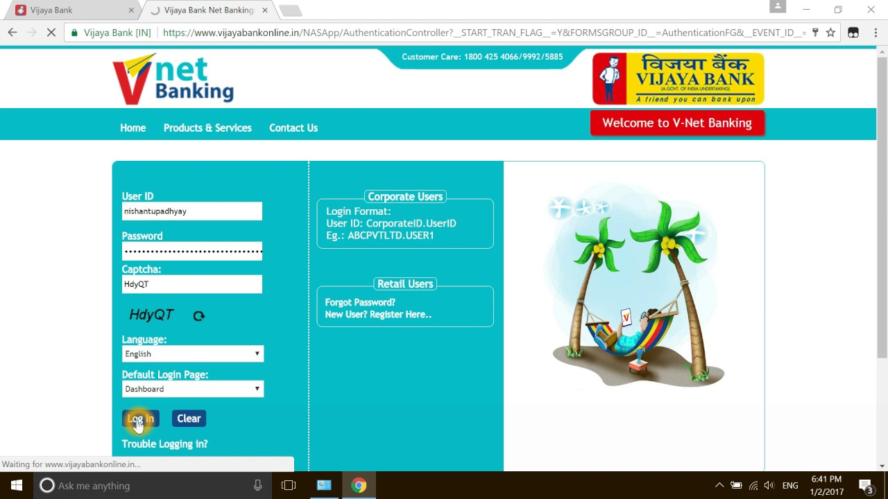 vijaya bank net banking and money transfer - YouTube