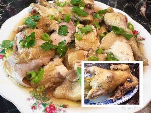 Cub qaib kheej nrog tauj dub noj qab heev. Making steamed chicken in seasoning sauce and lemon grass thumbnail