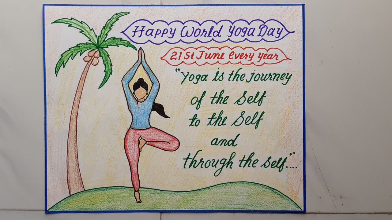 World Yoga Day Slogan Drawing Calligraphy International Yoga Day Poster Beautiful Handwriting Youtube