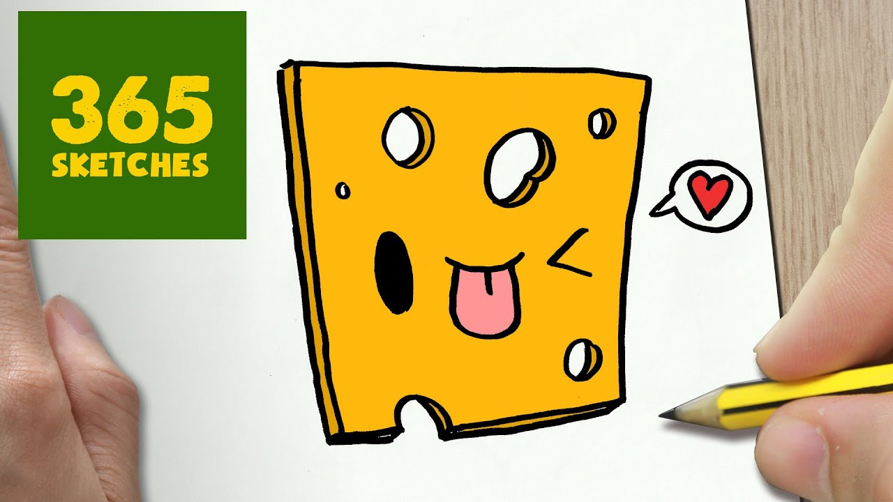 How to draw a cheese cute easy step by step drawing for How to draw cheese step by step