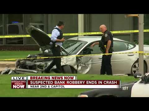 Suspected bank robbery ends in crash